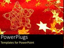 PowerPlugs: PowerPoint template with lots of shinning old colored starts on a red surface
