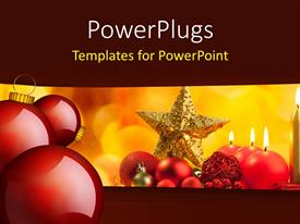 PowerPlugs: PowerPoint template with christmas ornaments with burning candles on colorful background