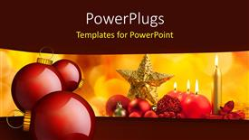 PowerPoint template displaying christmas ornaments with burning candles on colorful background