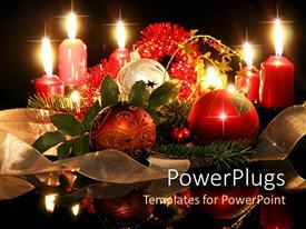 PowerPlugs: PowerPoint template with christmas holiday theme with ornaments, pine branches, tinsel, ribbon and candles, black background