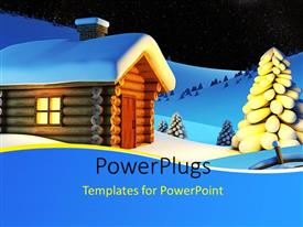 PowerPlugs: PowerPoint template with a small wooden house in the snow beside some trees