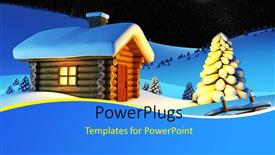 PowerPoint template displaying a small wooden house in the snow beside some trees