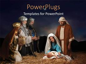 PowerPoint template displaying christmas nativity scene with Wise Men presenting gifts to baby Jesus Mary & Joseph