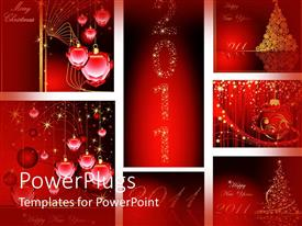 PowerPlugs: PowerPoint template with christmas and new year 2011 ornaments on a red background