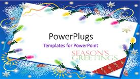 PowerPoint template displaying a white colored envelope with some christmas ornaments and text