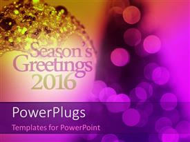 PowerPoint template displaying christmas and New Year background with Golden Bauble hanging on Christmas Tree