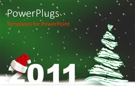 PowerPlugs: PowerPoint template with christmas and new year celebration with snow over Christmas tree