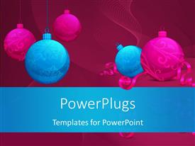 PowerPoint template displaying christmas and new year concept with colorful ornaments and ribbons