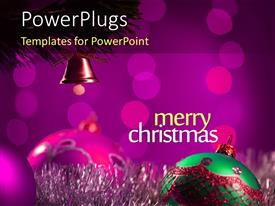 PowerPoint template displaying christmas and New Year Concept with Golden Bauble hanging on Christmas Tree with Bokeh in the background