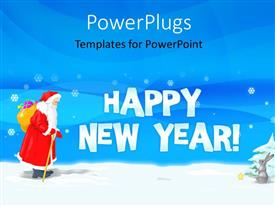 PowerPlugs: PowerPoint template with christmas and new year depiction with Santa Claus and hare in snow