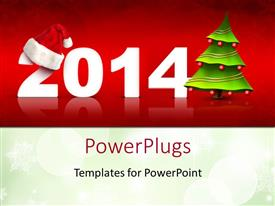 PowerPlugs: PowerPoint template with christmas and New year depictions with christmas tree and Santa cap