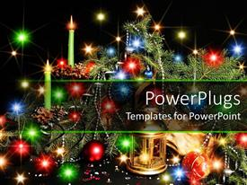 PowerPlugs: PowerPoint template with christmas ornaments, candles and chrome chains on Christmas tree