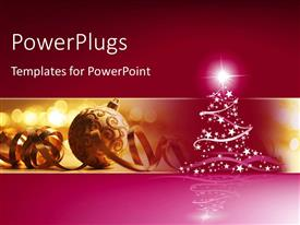 PowerPlugs: PowerPoint template with christmas ornaments with star sparkling on christmas tree