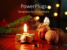PowerPlugs: PowerPoint template with some Christmas ornaments with some walnuts on a table