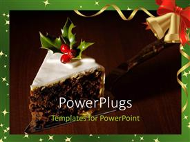 PowerPoint template displaying christmas season with cake decorated with berries and green frame
