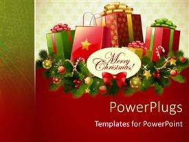 PowerPoint template displaying christmas season with multiple gift boxes on Christmas decoration