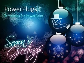PowerPlugs: PowerPoint template with christmas season with three sparkling ornaments and snowflakes in blue background