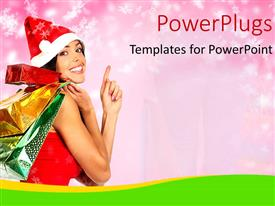 PowerPlugs: PowerPoint template with a pretty lady holding lots of gift bags wearing a Christmas cap