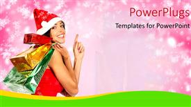 PowerPoint template displaying a pretty lady holding lots of gift bags wearing a Christmas cap