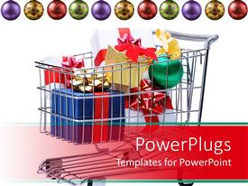 PowerPlugs: PowerPoint template with christmas shopping theme with presents in shopping card, Christmas ball ornament bauble border