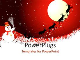 PowerPoint template displaying a Christmas sleigh riding in the air and snow man