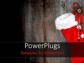 PowerPlugs: PowerPoint template with a Christmas sock and some ornaments hanging on a door