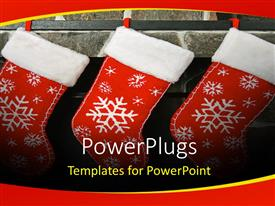 PowerPlugs: PowerPoint template with three chirstmas socks with colorful white patches on a wall