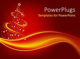 PowerPoint template displaying christmas theme with abstract Christmas three with gold waves and glowing point with white stars and gold star on red background