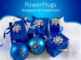 PowerPoint template displaying christmas theme with blue and silver presents gift boxes with ribbons and Christmas decoration balls