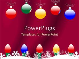 PowerPlugs: PowerPoint template with christmas theme with colorful globes and Christmas lights and snowflakes