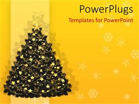 PowerPoint template displaying christmas theme with decorated Christmas tree with golden star and golden decorations, snowflakes on yellow background