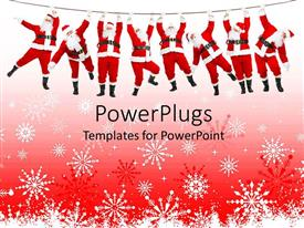 PowerPoint template displaying christmas theme with eight Santa Claus hanging on a rope white and red snowflakes