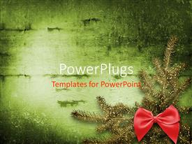 PowerPoint template displaying christmas theme and festive invitation or greeting with fir tree and bow