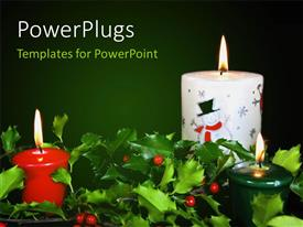 PowerPlugs: PowerPoint template with christmas theme with glowing candles & fresh seasonal holly