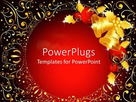 PowerPlugs: PowerPoint template with christmas theme with golden bells and red Christmas globes and golden mistletoes, with golden abstract pattern on red background