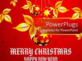 PowerPlugs: PowerPoint template with christmas theme with golden leaves on red background