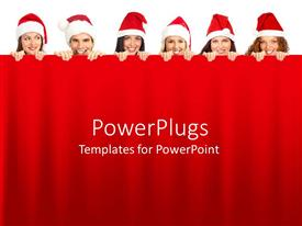 PowerPoint template displaying christmas theme with group of young people wearing red and white Christmas Santa hats holding red curtain background