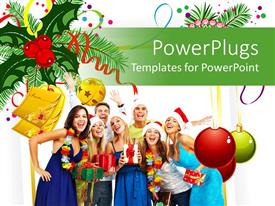 PowerPoint template displaying christmas theme with happy people smiling and laughing to the camera with Christmas balls and wishing cards, mistletoe design on white background