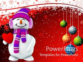 PowerPlugs: PowerPoint template with christmas theme with happy smiling snowman holding red heart and Christmas decorations colorful balls snowflakes on white and red background
