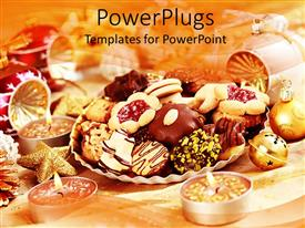 PowerPlugs: PowerPoint template with christmas theme with laid table various cookies and Christmas balls with burning candles in golden tone background