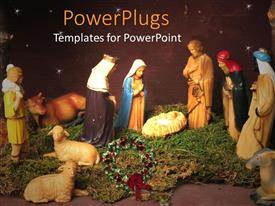 PowerPoint template displaying christmas theme representing nativity scene with Jesus in manger, Virgin Mary and three wise men