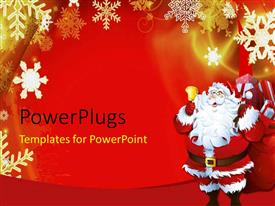 PowerPlugs: PowerPoint template with christmas theme with Santa Claus ringing golden bell and snow flakes