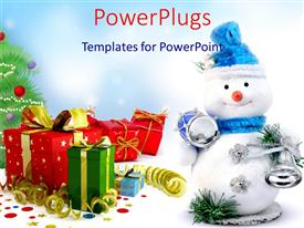 PowerPoint template displaying christmas theme with smiling snowman, drum, bells, gift boxes, Christmas tree