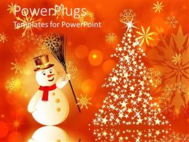 PowerPlugs: PowerPoint template with christmas theme with smiling snowman and shining Christmas tree made of bright stars and yellow glowing snowflakes on orange background