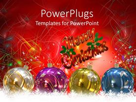 PowerPoint template displaying christmas theme with white, purple, yellow and blue transparent Christmas balls and Merry Christmas message on colorful lines and stars on red background