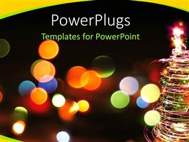 PowerPlugs: PowerPoint template with a blurry view of lots of dotted lights and a Christmas tree