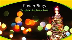 PowerPoint template displaying a blurry view of lots of dotted lights and a Christmas tree