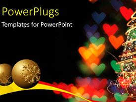PowerPlugs: PowerPoint template with two gold colored christmas balls and a christmas tree with lights