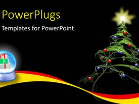 PowerPlugs: PowerPoint template with a christmas tree with balls and a star at the top of it