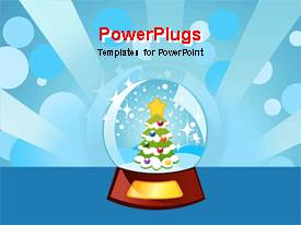 PowerPlugs: PowerPoint template with christmas tree inside of snow globe shining light, blue background